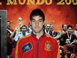 Juan Mora, con la elástica de la selección española sub-18 de fútbol sala