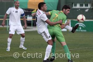 Jalid, durante el partido de la pasada temporada entre el Atlético de Ceuta y el San Roque en el campo de los gaditanos