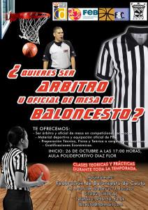 Cartel del curso de árbitros y oficiales de mesa que organiza la Federación de Baloncesto de Ceuta
