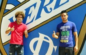 Willy y Juan Llaves, el día de su presentación con el Xerez CD