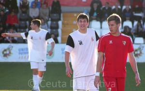 Jaime, emparejado con un jugador del Sevilla 'C' en el partido del pasado domingo