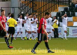 Antonio Prieto celebra el 2-1 ante el Cabecense. El delantero ceutí ya ha marcado 13 goles esta temporada